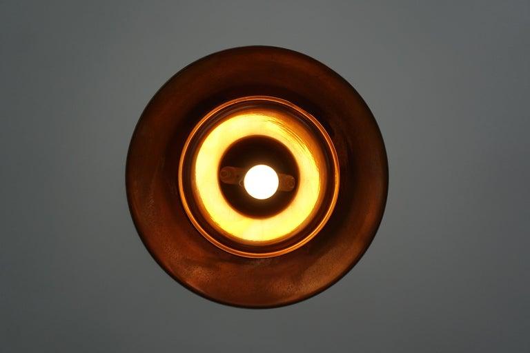 Early 1900 Belgian Copper Glass Pendant Light For Sale 3