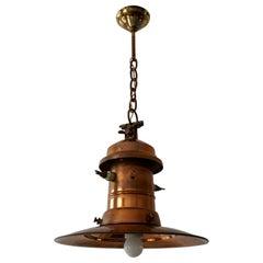 Early 1900 Belgian Copper Glass Pendant Light