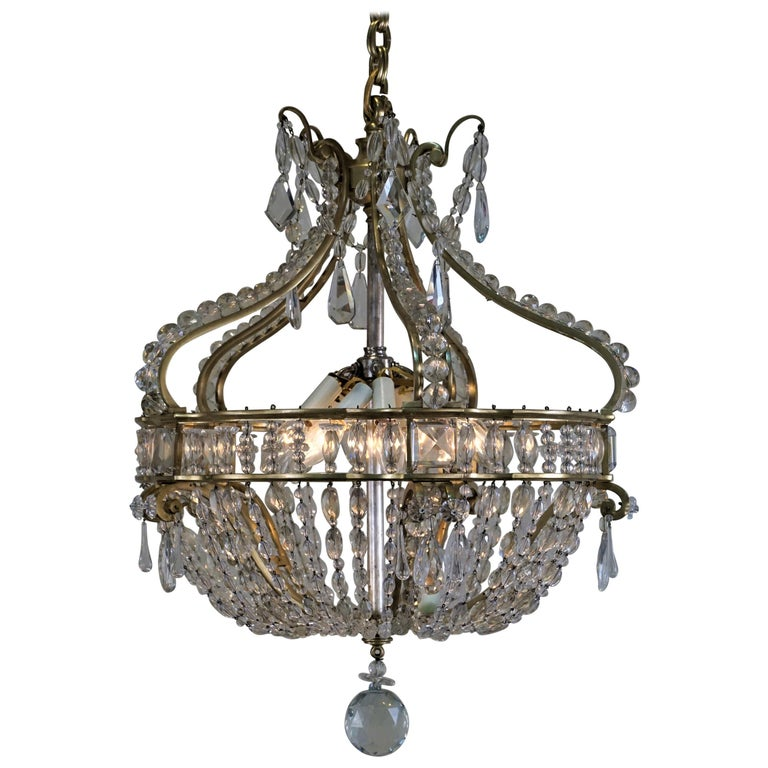 Early 1900 French Bronze and Crystal Chandelier For Sale