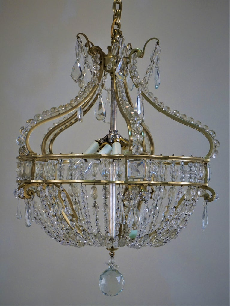 Early 1900 French Bronze and Crystal Chandelier For Sale 6