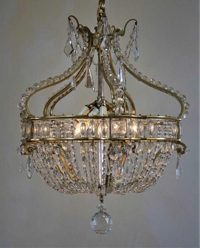Early 1900 French Bronze and Crystal Chandelier In Good Condition For Sale In Fairfax, VA