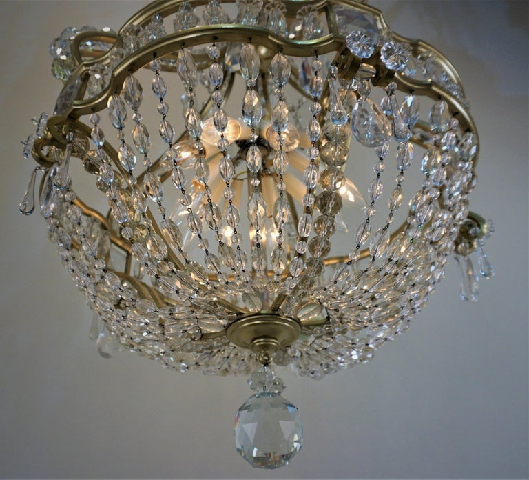 Early 1900 French Bronze and Crystal Chandelier For Sale 2