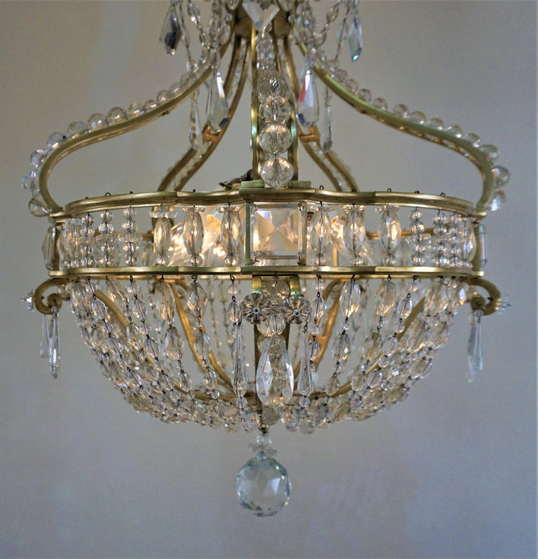 Early 1900 French Bronze and Crystal Chandelier For Sale 3