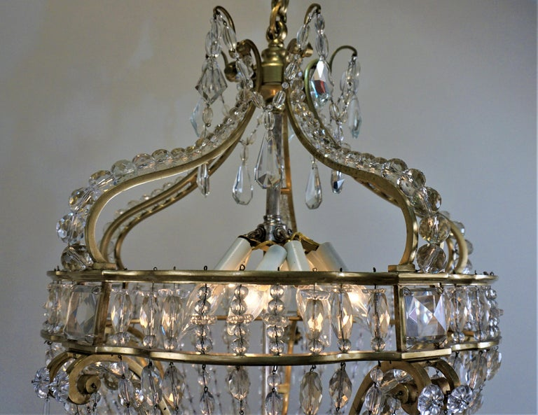 Early 1900 French Bronze and Crystal Chandelier For Sale 4