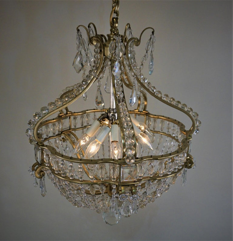 Early 1900 French Bronze and Crystal Chandelier For Sale 5