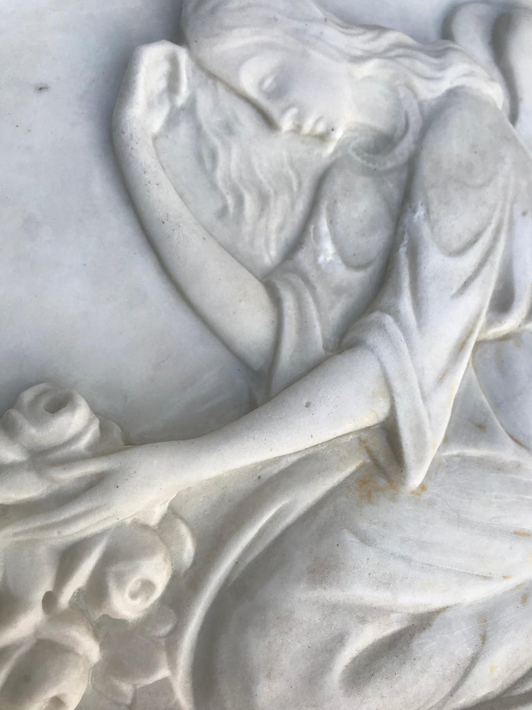 Hand-Crafted Early 1900 Fine Hand Crafted Marble Wall Plaque with Sculpture of Grieving Angel For Sale