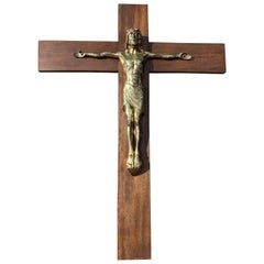 Early 1900 Large Size & Stylish Bronze Jesus Wall Crucifix / Christ on the Cross