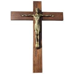 Early 1900 Large Size and Stylish Bronze Jesus Wall Crucifix/Christ on the Cross