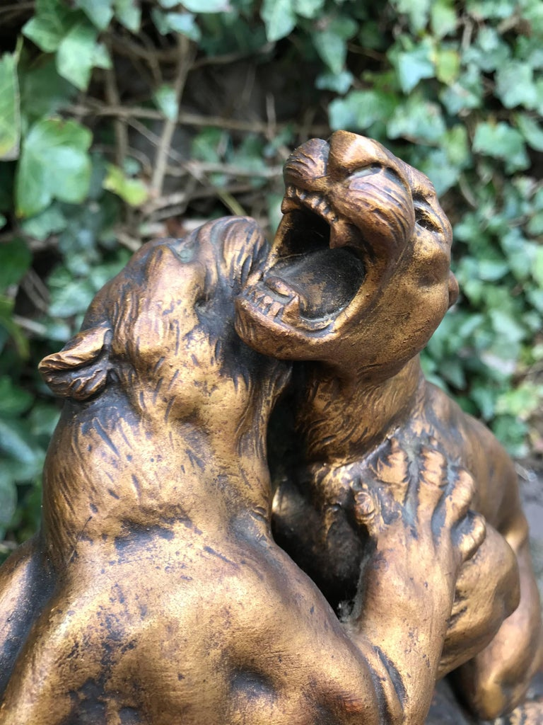 Early 1900 Terracotta Sculpture Of Fighting Panthers On A