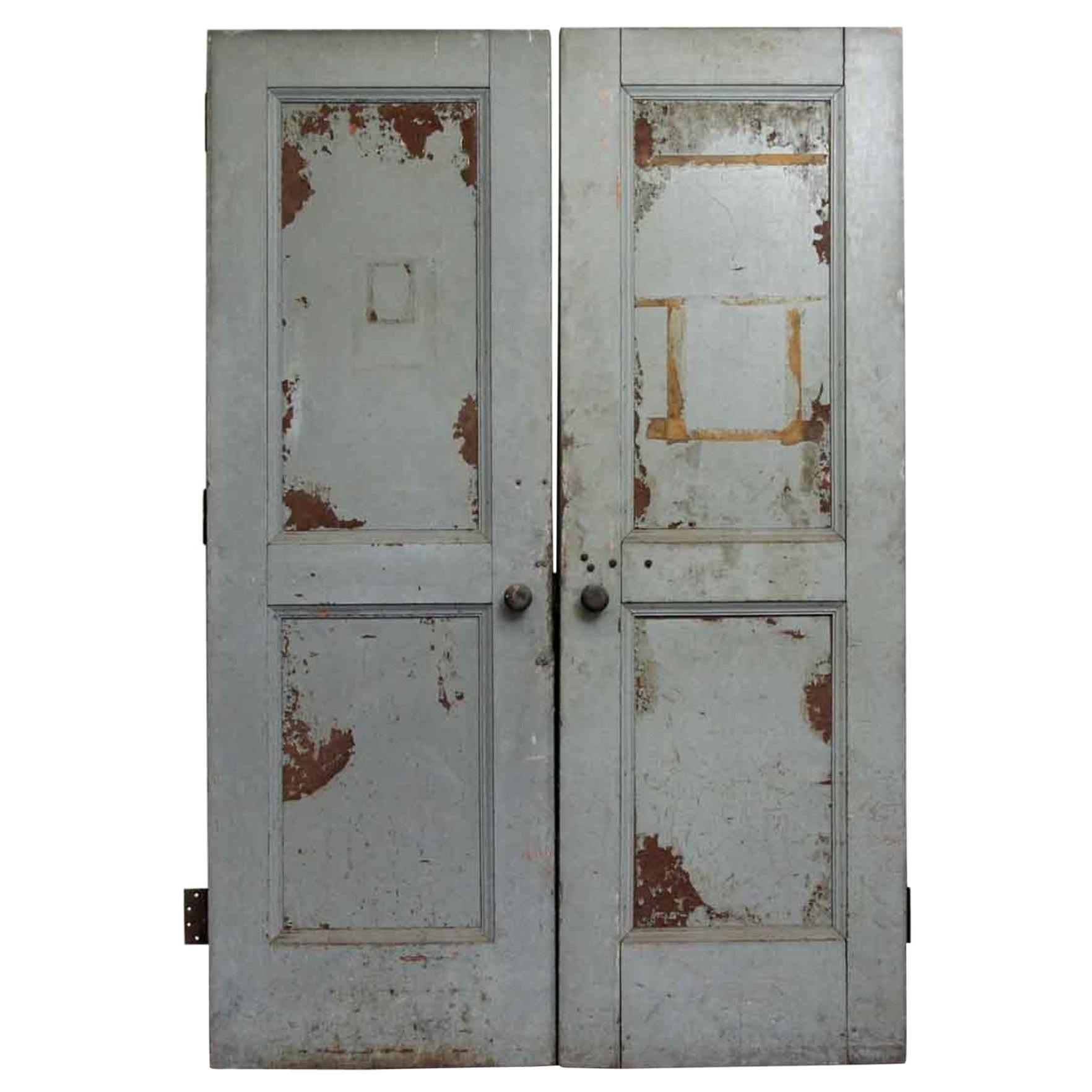 Early 1900s Two Panel Steel Clad Industrial Double Doors