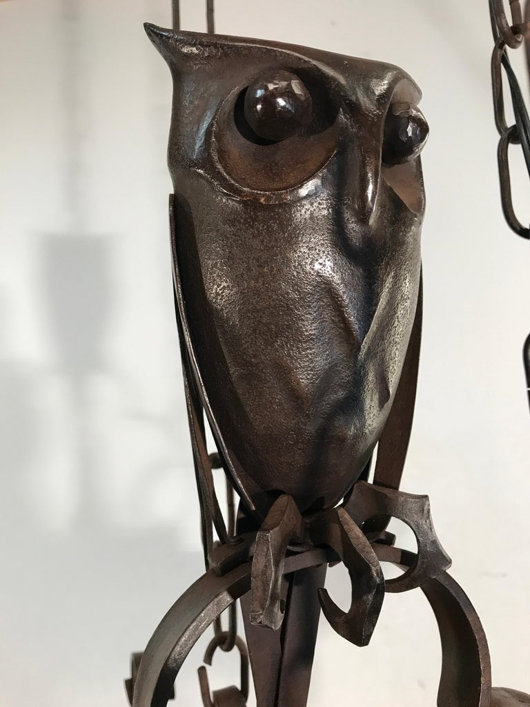 Early 1900s Amazing Arts and Crafts Wrought Iron Chandelier with Owl Sculpture For Sale 13