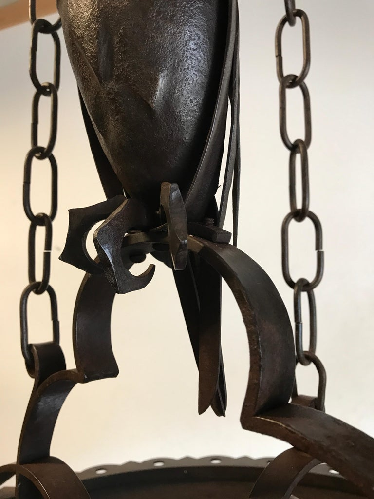 Early 1900s Amazing Arts and Crafts Wrought Iron Chandelier with Owl Sculpture For Sale 14