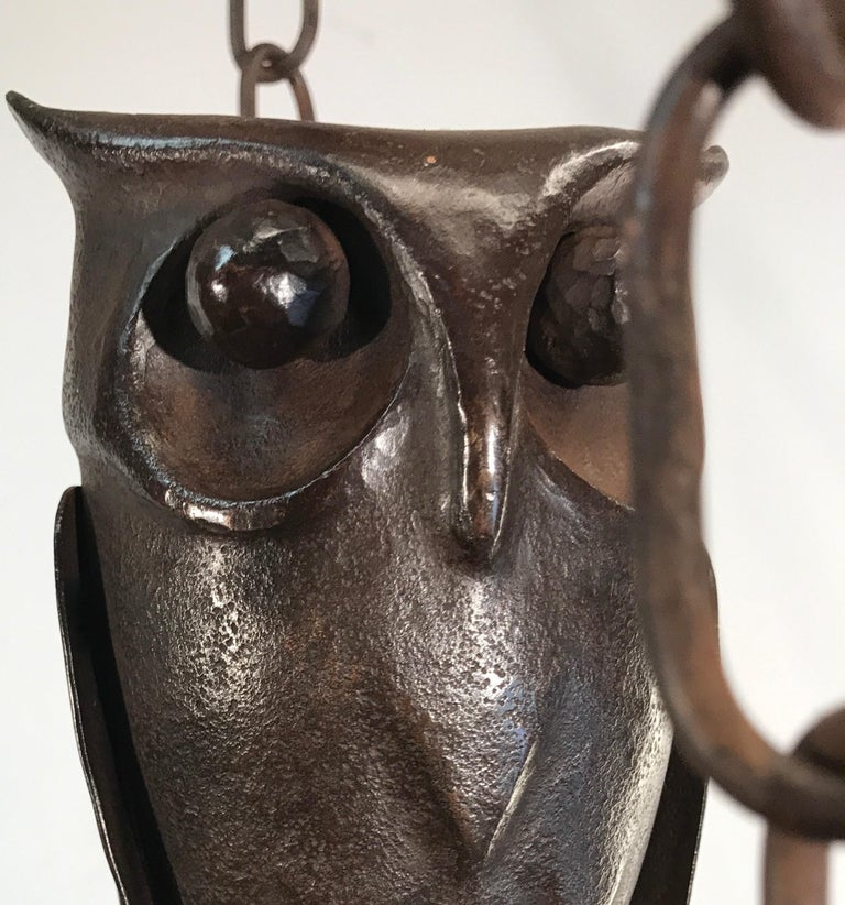 Hand-Crafted Early 1900s Amazing Arts and Crafts Wrought Iron Chandelier with Owl Sculpture For Sale