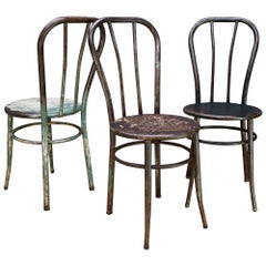 3 Vintage Industrial American Steel NYC Bar Chairs Bistro Boutique like Thonet