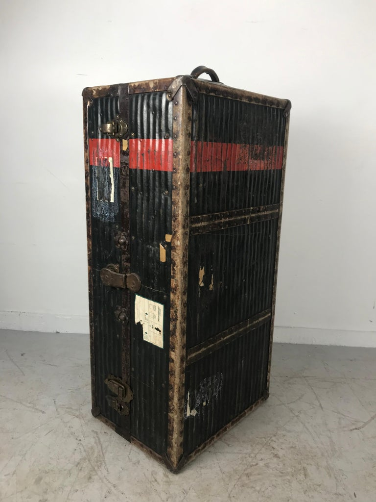 Industrial Early 1900s Antique Steamer Trunk from