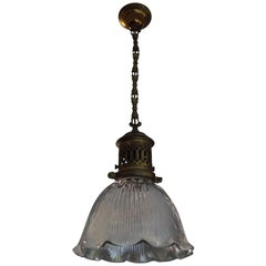 Early 1900s Arts & Crafts Brass and Prismatic Glass Pendant Light by Holophane