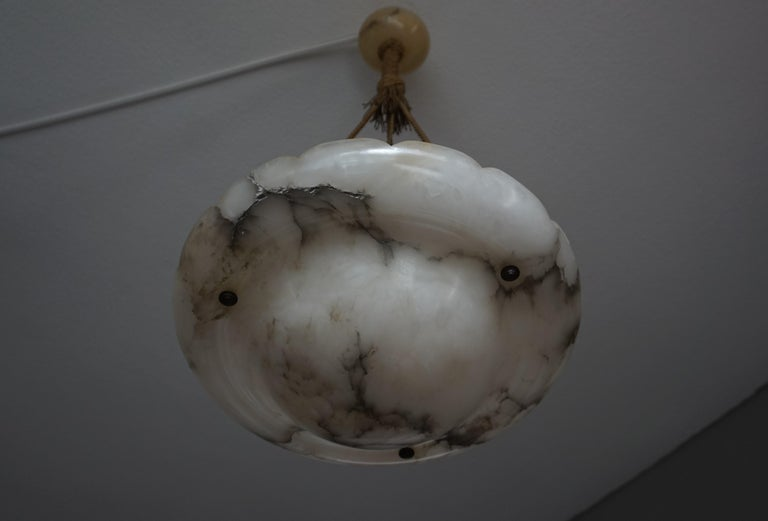Early 1900s Arts & Crafts Pendant with Original Rope & Striking Alabaster Shade For Sale 5