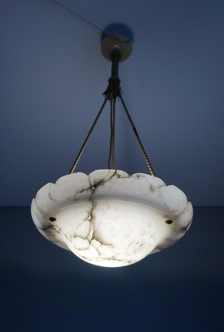 Early 1900s Arts & Crafts Pendant with Original Rope & Striking Alabaster Shade For Sale 8