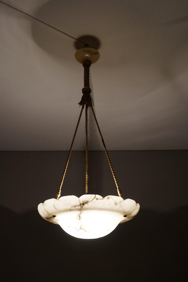 Early 1900s Arts & Crafts Pendant with Original Rope & Striking Alabaster Shade For Sale 11
