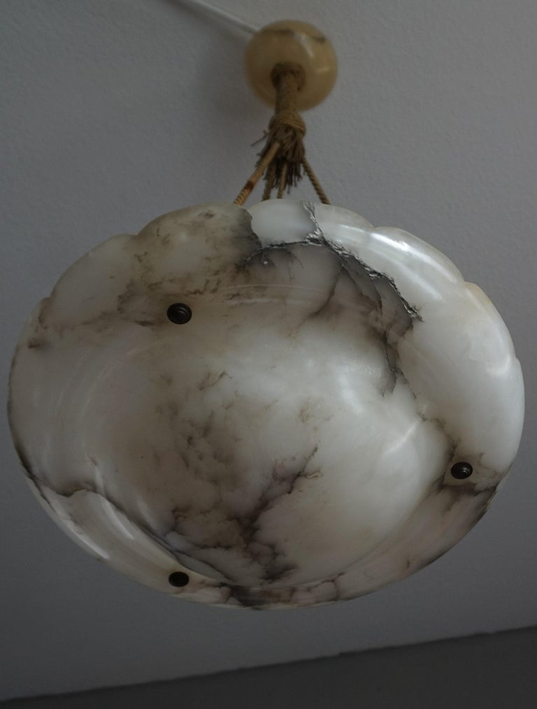 20th Century Early 1900s Arts & Crafts Pendant with Original Rope & Striking Alabaster Shade For Sale