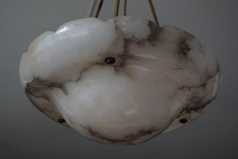 Early 1900s Arts & Crafts Pendant with Original Rope & Striking Alabaster Shade For Sale 1