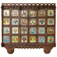 Early 1900s Back-Painted Dowry Chest from India's Rajasthan or Gujarat Region