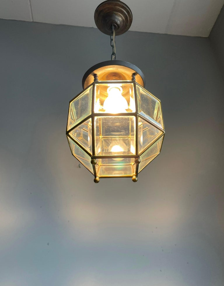 Early 1900s Beveled Glass and Brass Pendant Cubic Adolf Loos Style Ceiling Light For Sale 9