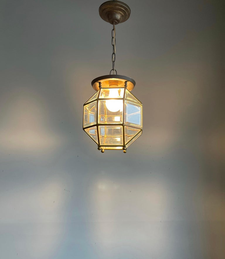 Early 1900s Beveled Glass and Brass Pendant Cubic Adolf Loos Style Ceiling Light For Sale 10