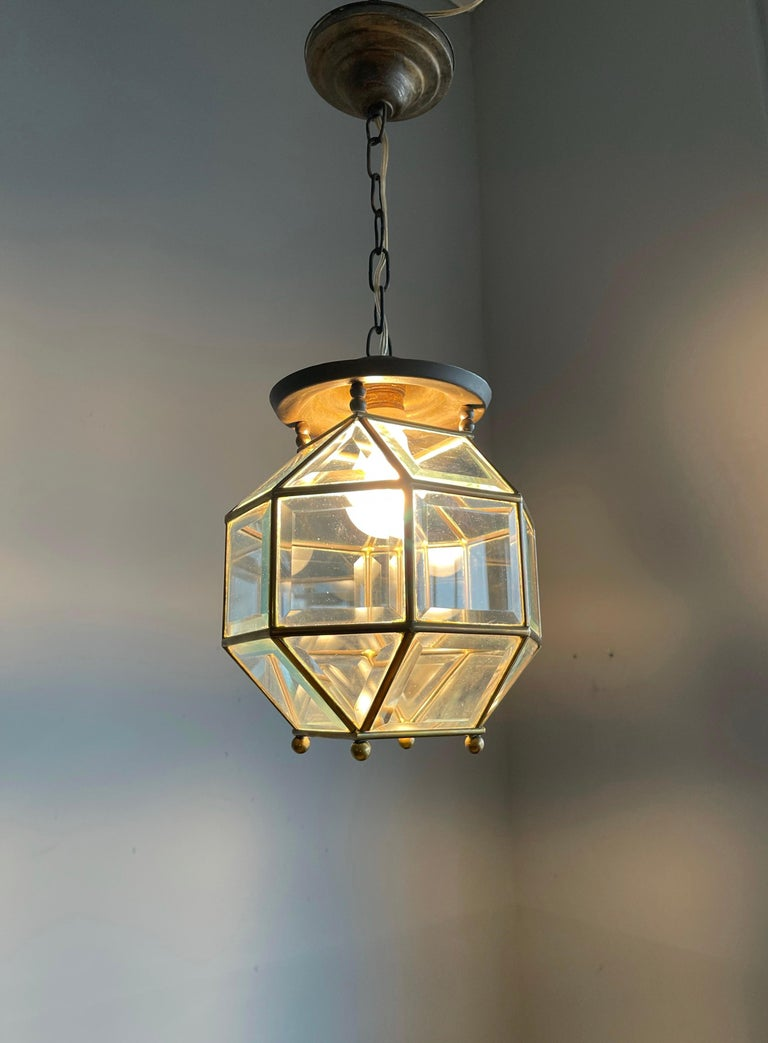 Early 1900s Beveled Glass and Brass Pendant Cubic Adolf Loos Style Ceiling Light For Sale 11