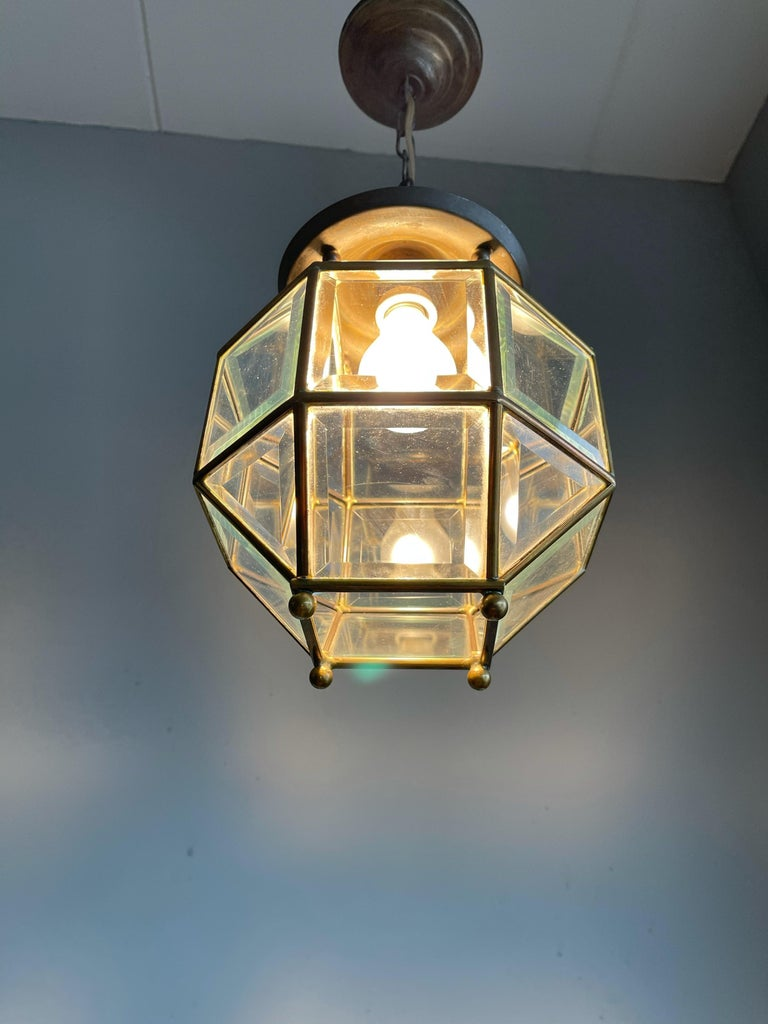 Early 1900s Beveled Glass and Brass Pendant Cubic Adolf Loos Style Ceiling Light For Sale 12