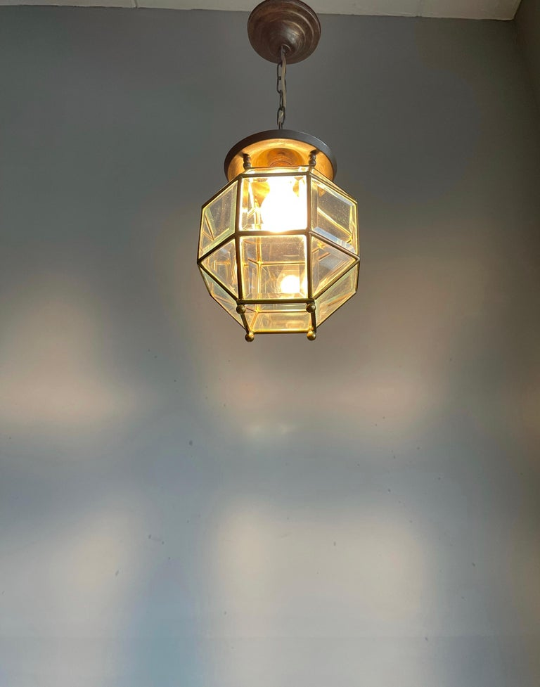 Early 1900s Beveled Glass and Brass Pendant Cubic Adolf Loos Style Ceiling Light For Sale 13