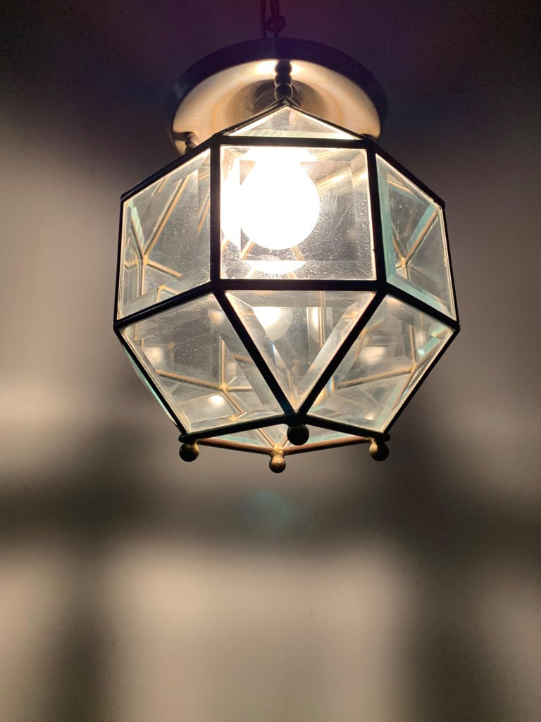 European Early 1900s Beveled Glass and Brass Pendant Cubic Adolf Loos Style Ceiling Light For Sale