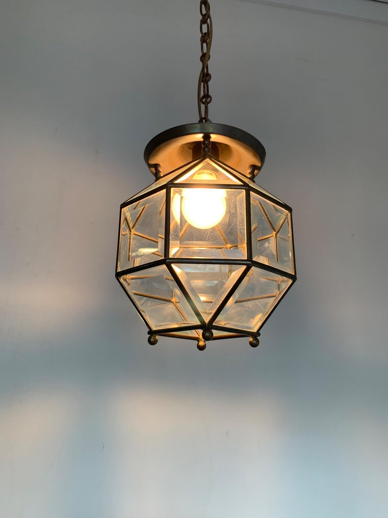 20th Century Early 1900s Beveled Glass and Brass Pendant Cubic Adolf Loos Style Ceiling Light For Sale