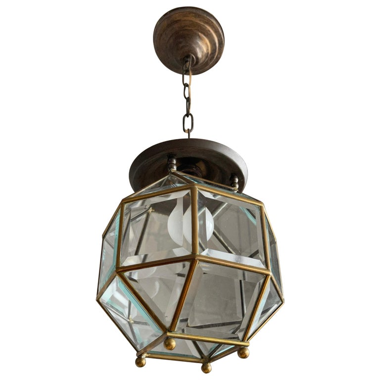 Early 1900s Beveled Glass and Brass Pendant Cubic Adolf Loos Style Ceiling Light For Sale