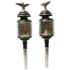 Early 1900s Beveled Glass and Silvered Brass Eagles Carriage Lights