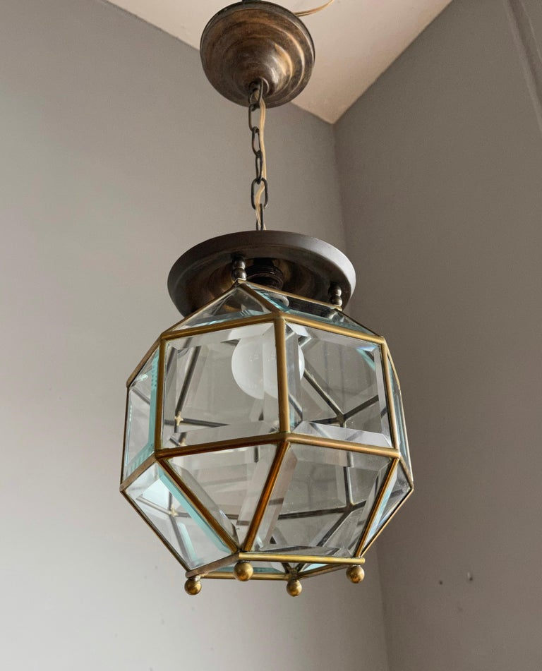 Early 1900s Beveled Glass and Brass Pendant Cubic Adolf Loos Style Ceiling Light For Sale 7