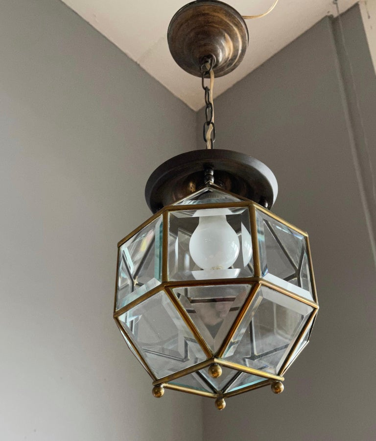 Arts and Crafts Early 1900s Beveled Glass and Brass Pendant Cubic Adolf Loos Style Ceiling Light For Sale