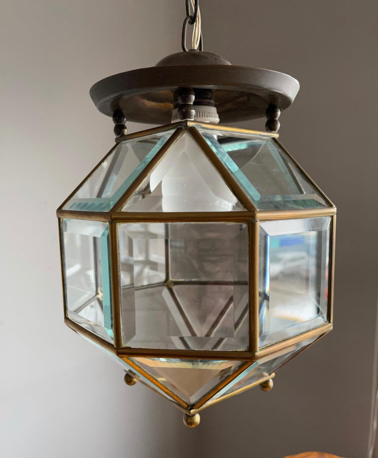 Early 1900s Beveled Glass and Brass Pendant Cubic Adolf Loos Style Ceiling Light For Sale 2