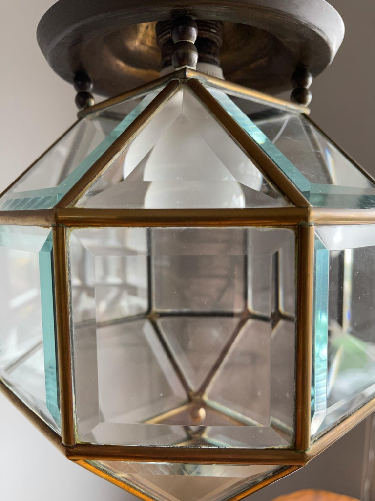 Early 1900s Beveled Glass and Brass Pendant Cubic Adolf Loos Style Ceiling Light For Sale 3