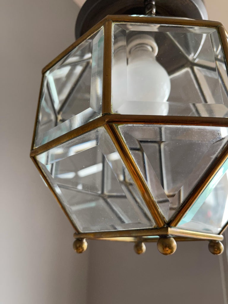 Early 1900s Beveled Glass and Brass Pendant Cubic Adolf Loos Style Ceiling Light For Sale 4