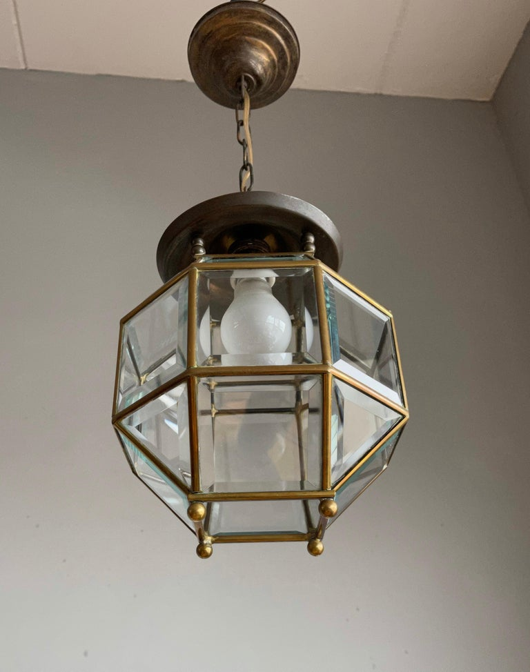 Early 1900s Beveled Glass and Brass Pendant Cubic Adolf Loos Style Ceiling Light For Sale 5