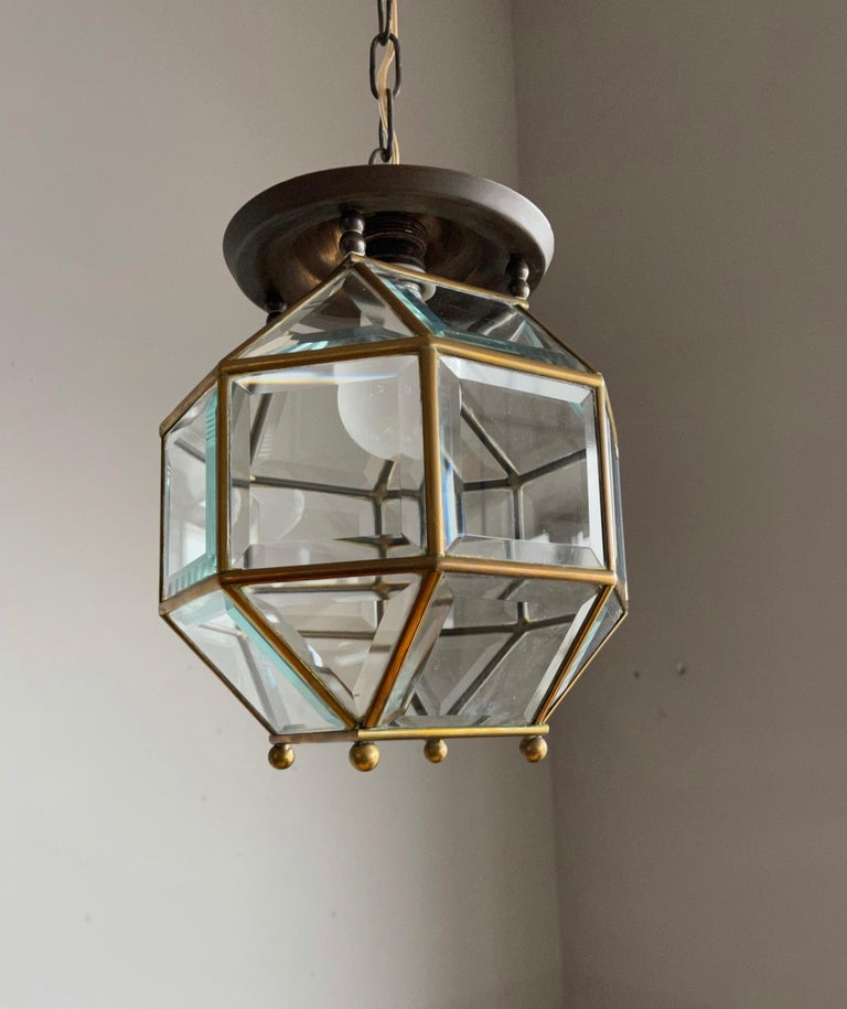 Early 1900s Beveled Glass and Brass Pendant Cubic Adolf Loos Style Ceiling Light For Sale 6
