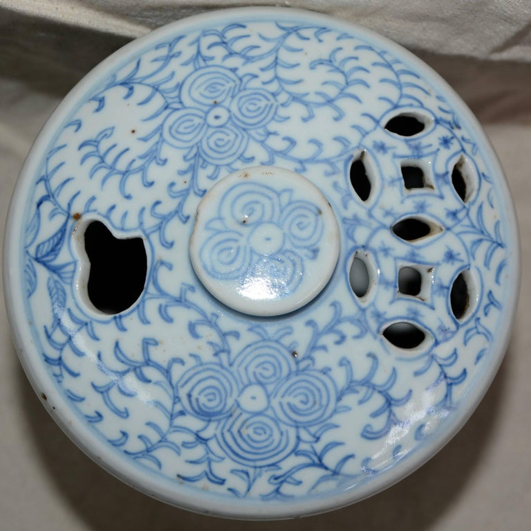 Blue and White Asian Pierced Ceramic Incense Burner, 20th Century For Sale 3
