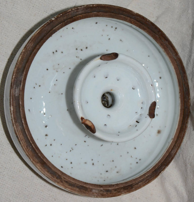 Blue and White Asian Pierced Ceramic Incense Burner, 20th Century For Sale 4