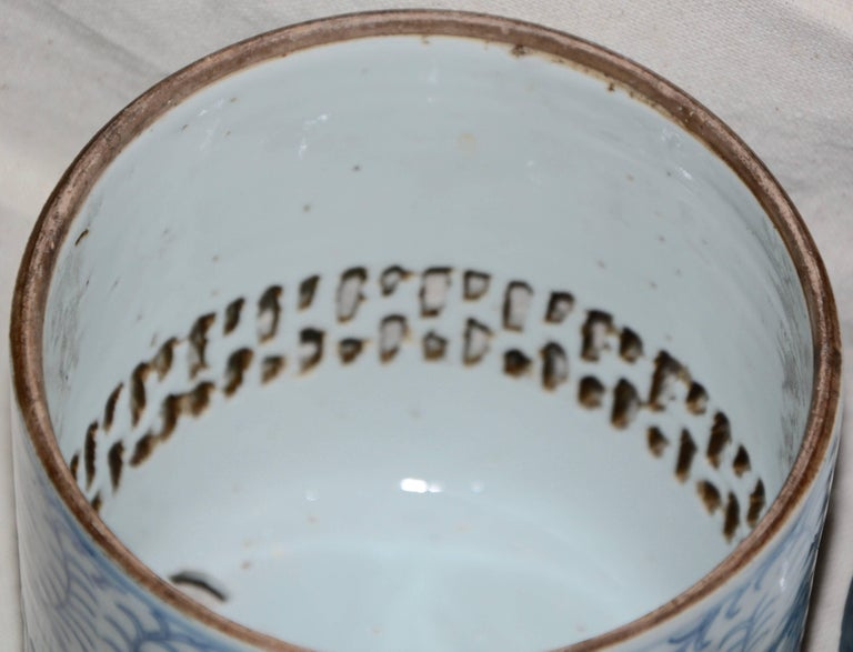 Blue and White Asian Pierced Ceramic Incense Burner, 20th Century For Sale 7