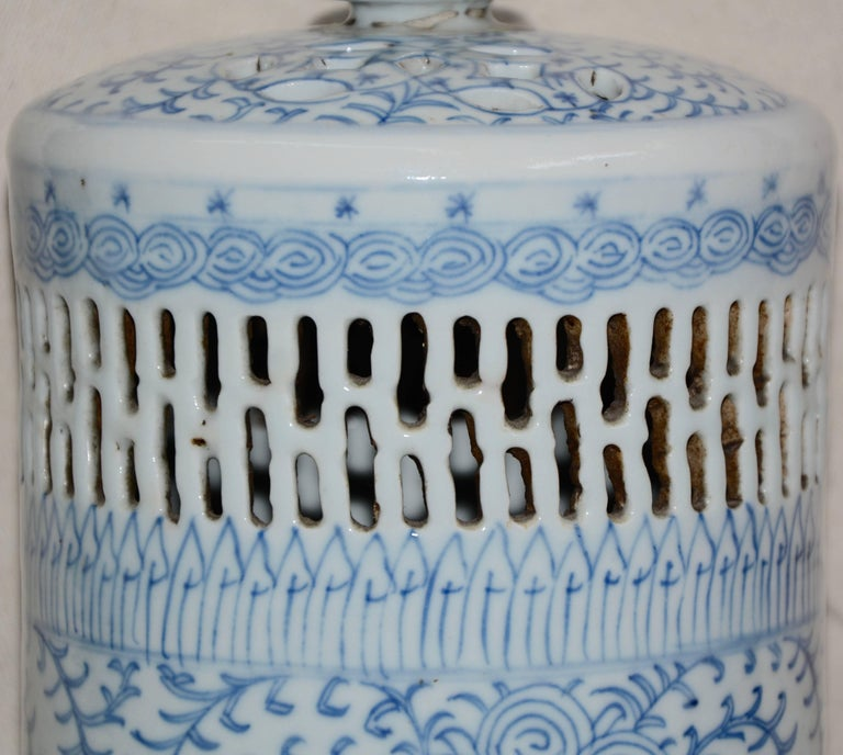 Chinese Blue and White Asian Pierced Ceramic Incense Burner, 20th Century For Sale