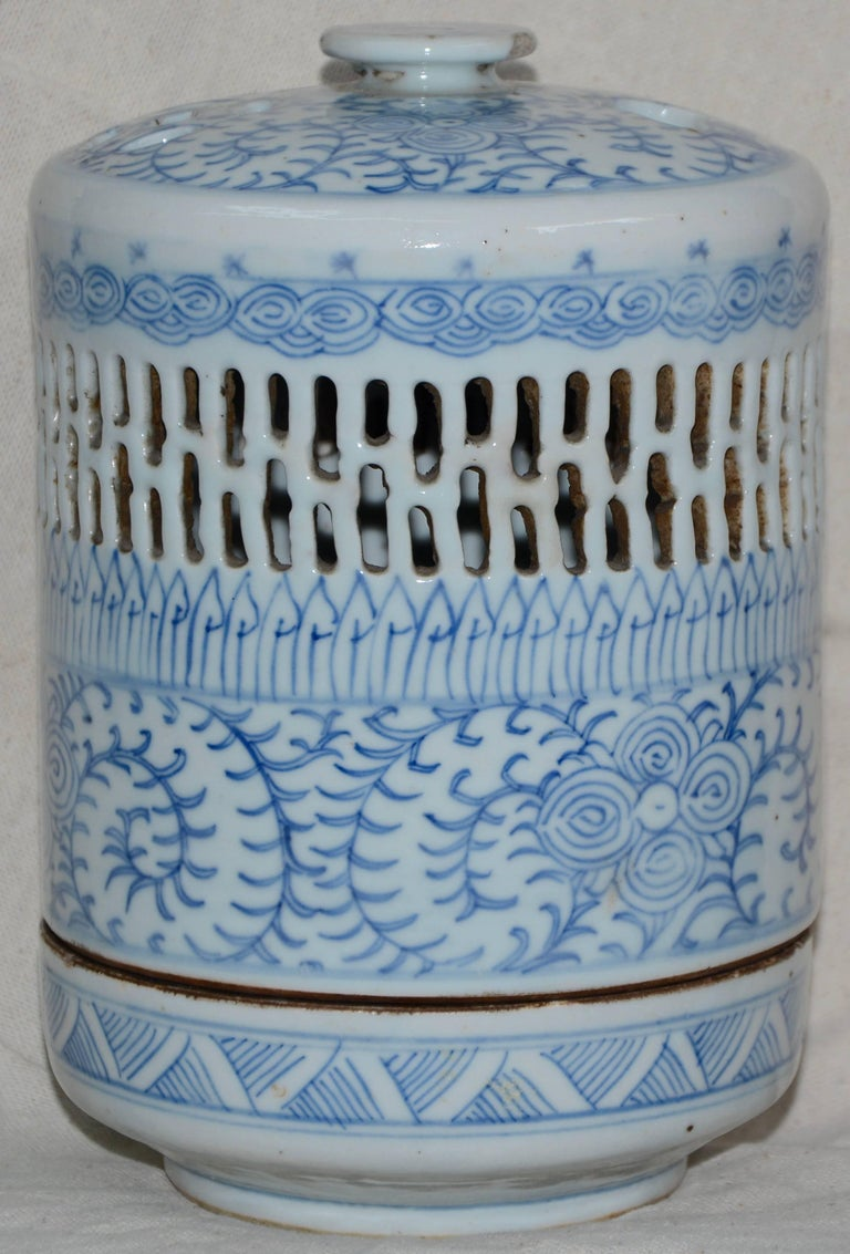 Hand-Painted Blue and White Asian Pierced Ceramic Incense Burner, 20th Century For Sale