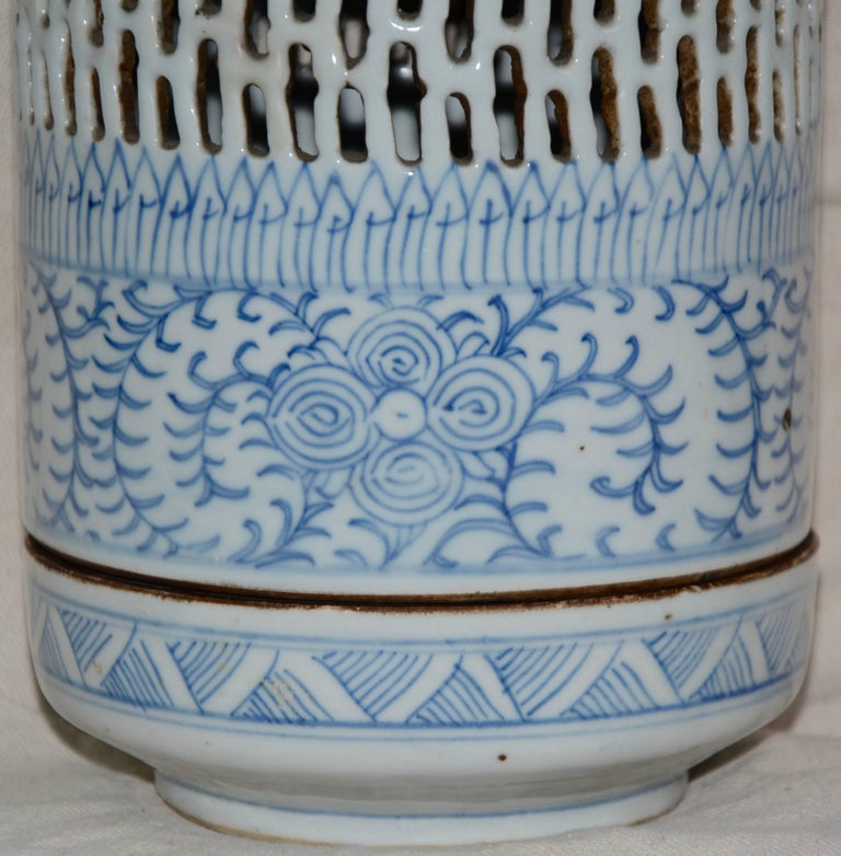 Blue and White Asian Pierced Ceramic Incense Burner, 20th Century In Fair Condition For Sale In Cookeville, TN