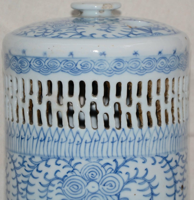 Porcelain Blue and White Asian Pierced Ceramic Incense Burner, 20th Century For Sale