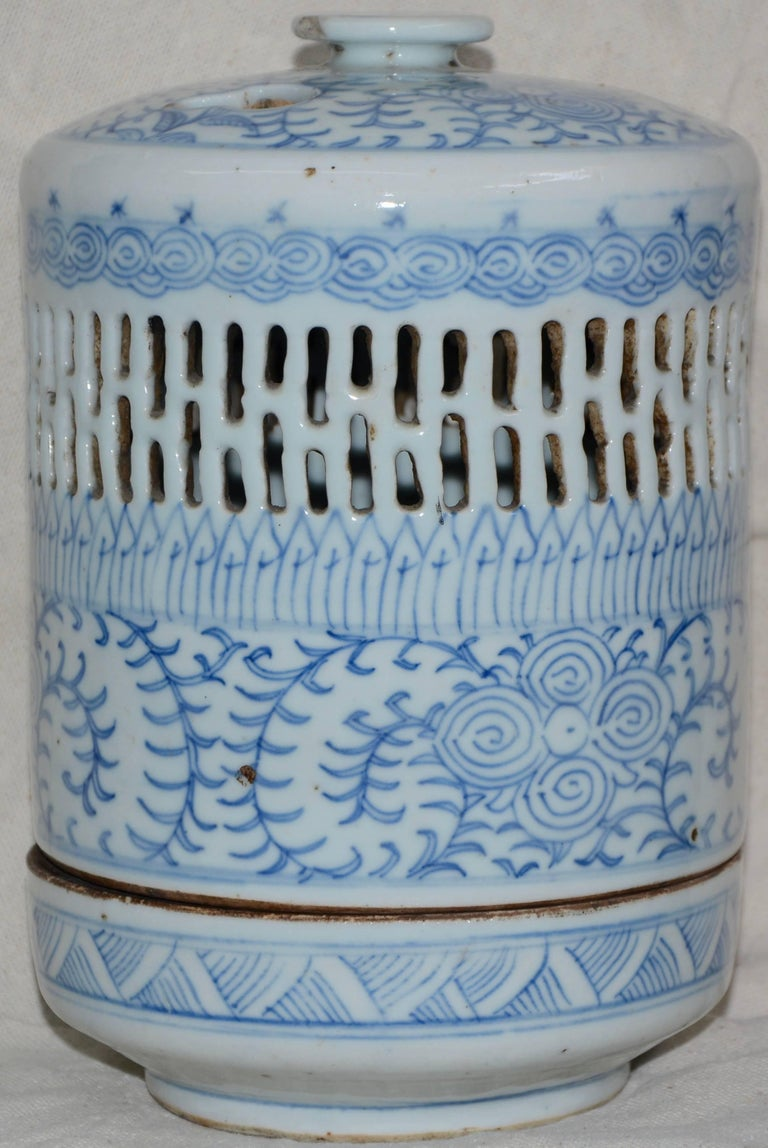 Blue and White Asian Pierced Ceramic Incense Burner, 20th Century For Sale 1